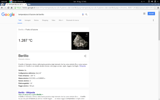 Google Knowledge Graph - Temperatura Fusione Berillio